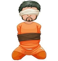 Hostage being captured and blindfolded vector image