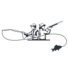 hunter and fisherman vector image