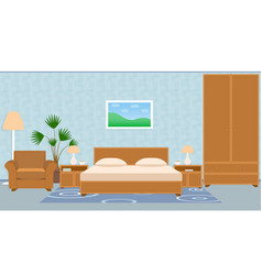 Interior bedroom with furniture carpet wallpaper vector