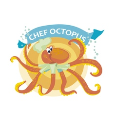 kiddy cook octopus with banner vector image vector image