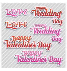 Love wedding and valentines text vector