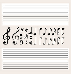 Music notes and blank scales vector