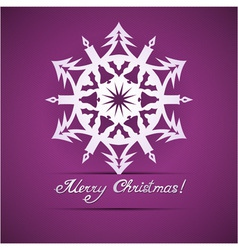 Paper origami christmas snowflake card vector image