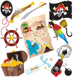 Pirate birthday party icons vector