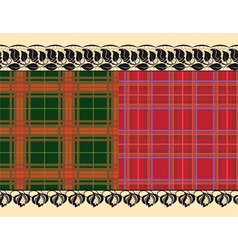 plaid fabric delicate embroidery vector image vector image