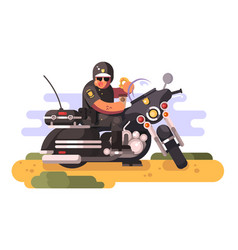 Police officer with donut and coffee on motorcycle vector