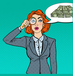 Pop art business woman with magnifier found money vector