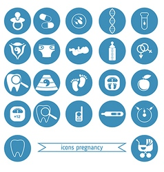 Pregnancy and newborn baby icons set vector image vector image