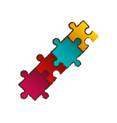 puzzle pieces connection image vector image