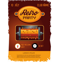 Retro party poster template with vintage clockwork vector