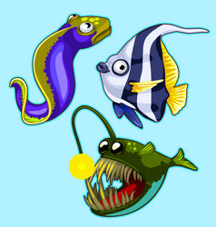 Set of anglerfish eel striped tropical fish vector