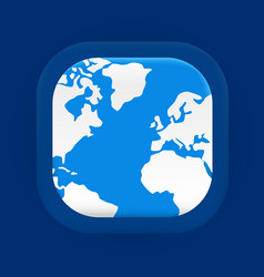Square blue world map icon vector