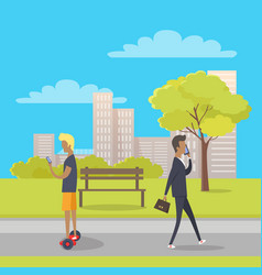 Stroll in city park flat vector
