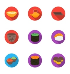 Sushi set icons in flat style big collection of vector