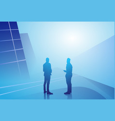 two silhouette businessman talking discussion vector image vector image