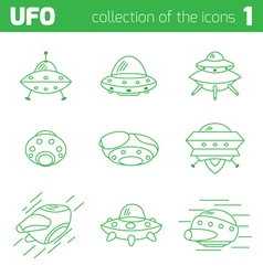 ufo alien ships icon part one vector image