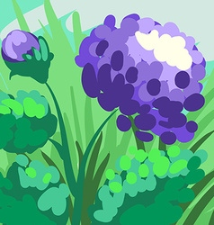 Violet stylized peony hand-drawn on green vector image vector image