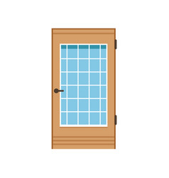 Wooden entrance door with glass closed elegant vector