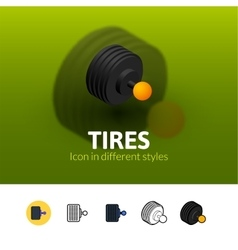 Tires icon in different style vector