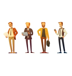 Businessman dress code retro cartoon set vector