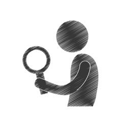 drawing man with search figure pictogram vector image