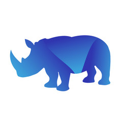 Wild rhino animal jungle pet logo silhouette of vector