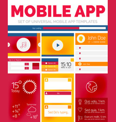 set of mobile app layout templates vector image