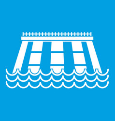 Hydroelectric power station icon white vector