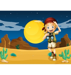 A girl at the desert with a telescope vector image