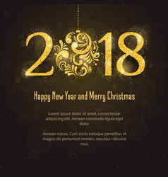 2018 happy new year and merry christmas vector