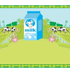 Abstract poster with a carton of milk and cows vector