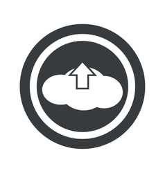 Round black cloud upload sign vector