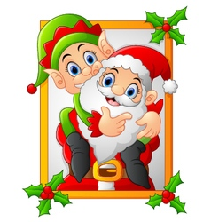 Happy santa hold elf cartoon vector