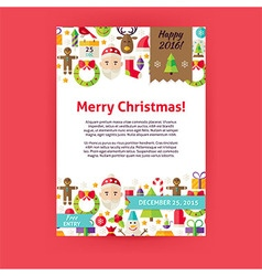 Merry christmas holiday invitation template flyer vector