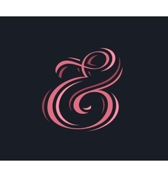 Stylish custom pink ampersand vector
