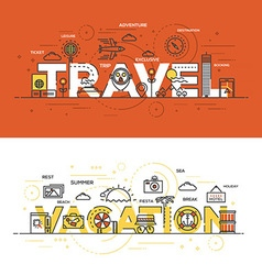 Flat design line concept banner travel vector