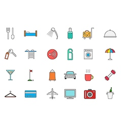 Hotel service colorful icons set vector