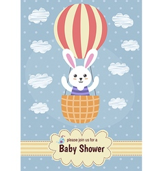 Baby shower card with a cute rabbit flying on ball vector