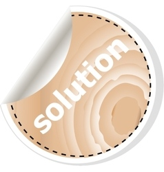 Solution word on business wooden app icon vector