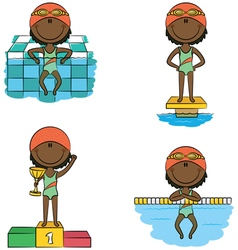 African-American swimmer girls vector image