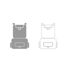 Backpack the grey set icon vector