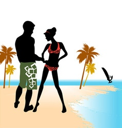 beach flirting vector image vector image