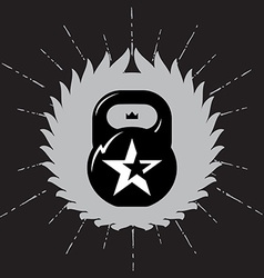 Black kettlebell on grey background with star vector