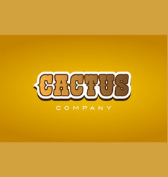Cactus western style word text logo design icon vector