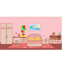Children bedroom interior with furniture birthday vector