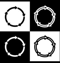 Circular arrows sign black and white vector