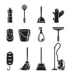 Cleaning Home Appliances Icons Set Monochrome vector image vector image