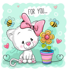 Cute cartoon kitten with flower vector
