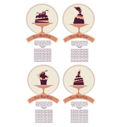 Dessert labels stickers or menu covers vector