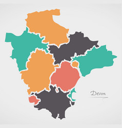 Devon england map with states and modern round vector